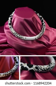 Bead rope, seed beads, bead necklace. White bead necklace on a red satin on black background