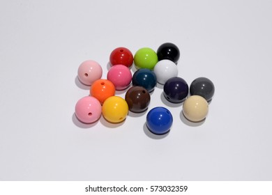 Beads color on a white background. Colorful beads