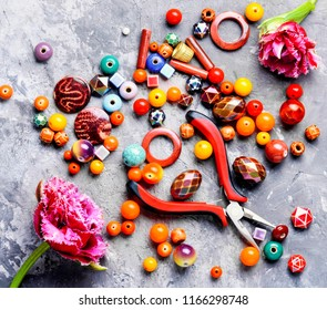 Beads, colorful beads for needlework and flower