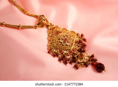 Beads and diamond pendant, Indian Traditional jewelry