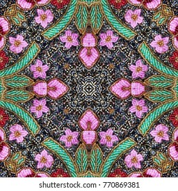 Beads. Embroidered glass beads seamless pattern. With green and pink flowers geometric decoration.