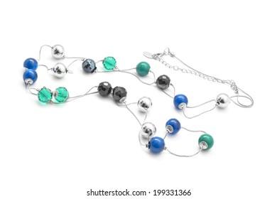 beads necklace isolated on white background