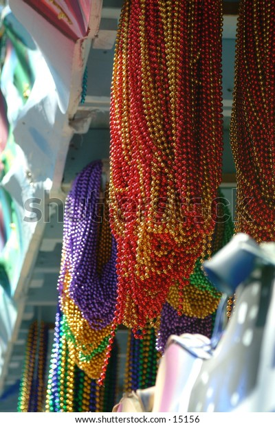 Beads on a Mardi Gras float