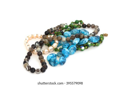 Beads on a white background