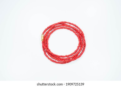 Beads strung and collected on string of various colors-Beads