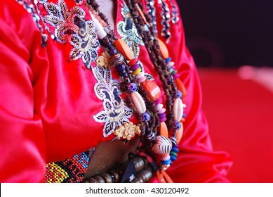 Beads worn by female shaman of the Tombonua etnicity of Sabah, Borneo, Malaysia. Other than beautiful, beads of Borneo hold social, economic and cultural meaning.