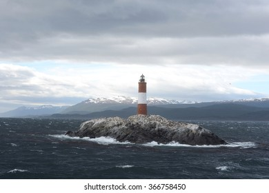 BEAGLE CHANNEL, ARGENTINA - NOVEMBER 16,2014:Lighthouse in the Beagle channel.The Beagle channel separating the main island of the archipelago of Tierra del Fuego and lying to the South of the island.