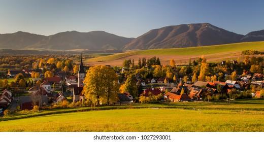 Beaitufil Autumn panorama of Liptovsky Trnovec village, Slovakia near Liptovska mara lake