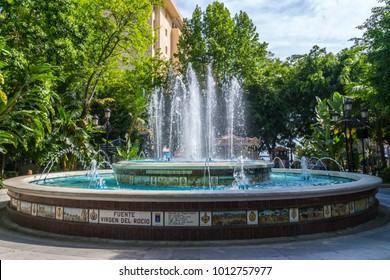 A beaituful old tile fountain in Plaza la Alameda  Marbella Spain