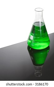 Beaker of green liquid