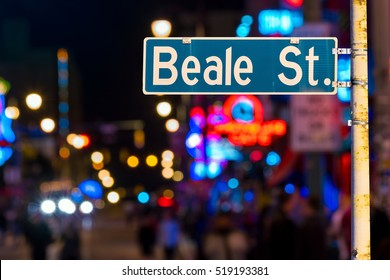 Beale street sign with blur background in Memphis.