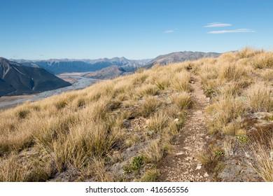 Bealey hiking trail in highlands, Cnaterbury, New Zealand
