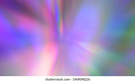 Beam of light through a prism. Neon Purple Pink Blue Cyan gradient. Abstract blurred multicolored background