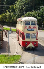BEAMISH, COUNTY DURHAM, UK - AUGUST 31, 2014: A vintage tram operates at the Beamish Living Museum near Stanley, recreating the atmosphere of life as it was in North East England.