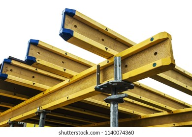 beams for Monolithic frame construction of the building are isolated on white background. The framework for the walls