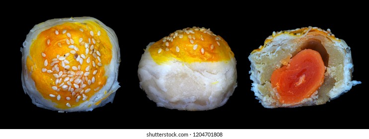 Bean ball Thailand dessert with durian and egg yolk crispy in top view, side view and slice view