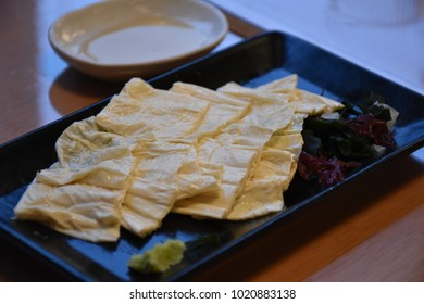 Bean curd skin, a popular dish in Japan, called Yuba