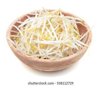 Bean Sprouts on wooden bowl on White