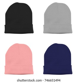 Beanie hat with 4 color black grey pink blue in white background