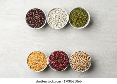 Beans assortment on white stone table