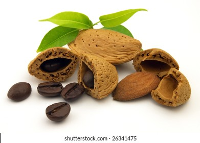 Beans coffee and almond on a white background