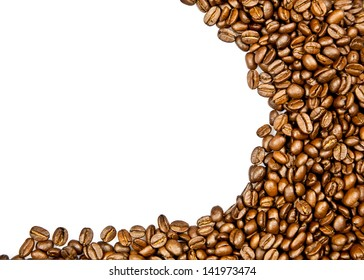 beans of coffee isolated on white background