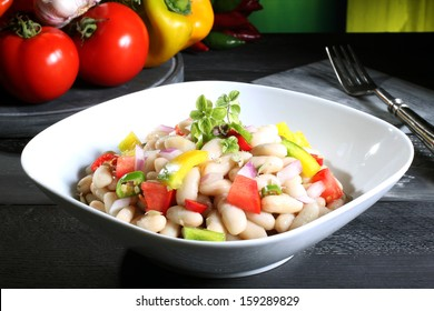 beans salad green background