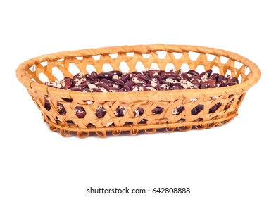 beans in wicker basket isolated on white background