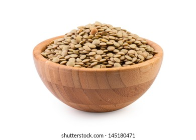 Beans in wooden bowl on white background