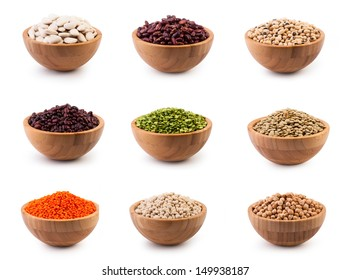 Beans in wooden bowl on white background. Set