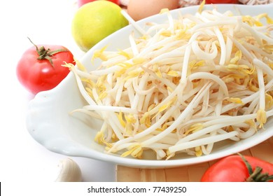 Beansprout with other vegetable and fruits on the table mates