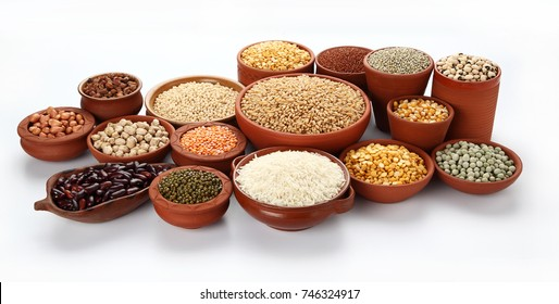 Beans,Pulses,Lentils,Rice and Wheat grains in bowl