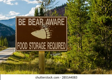 Bear Aware sign in remote area warning sign