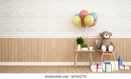 Bear with balloon and gift - 3D Rendering