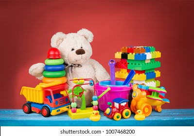 Bear and clorful toys