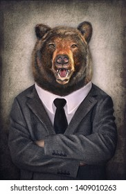 Bear in clothes. Man with a head of an bear. Concept graphic in vintage style.