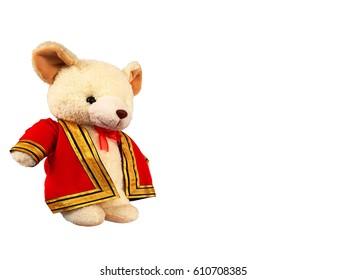 Bear doll is wearing a Graduate's dress.