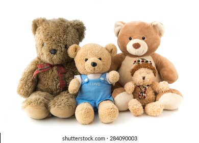 A bear family doll in white isolation, represent happy family.