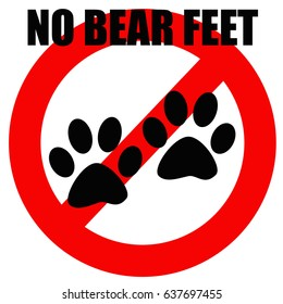 bear foot prints in red circle illustration