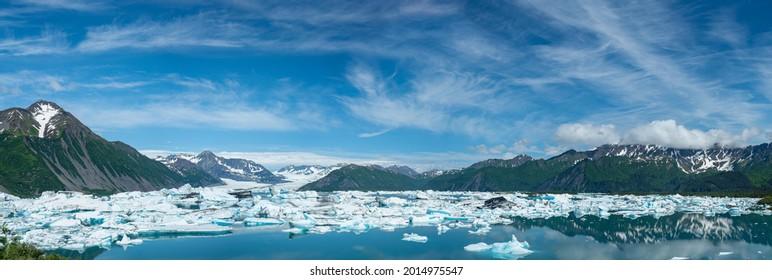 Bear Glacier Panorama With Lagoon and Icebergs