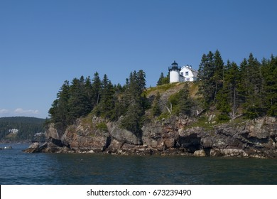 Bear Island lighthouse sits atop a rocky island near Acadia National Park in Maine.