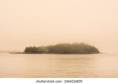 Bear Island Maine. Mt Desert Island Acadia National Park. A foggy morning covering the coast