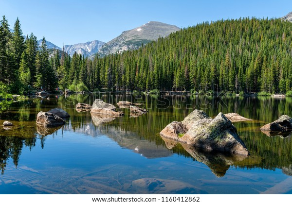 Bear Lake - A sunny summer morning view of a rocky section of Bear Lake, Rocky Mountain National Park, Colorado, USA.