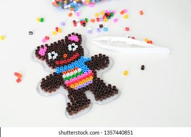 Bear maked from perler beads, montessori game for children