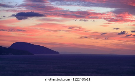 Bear mountain and the Black Sea before dawn in the Crimea
