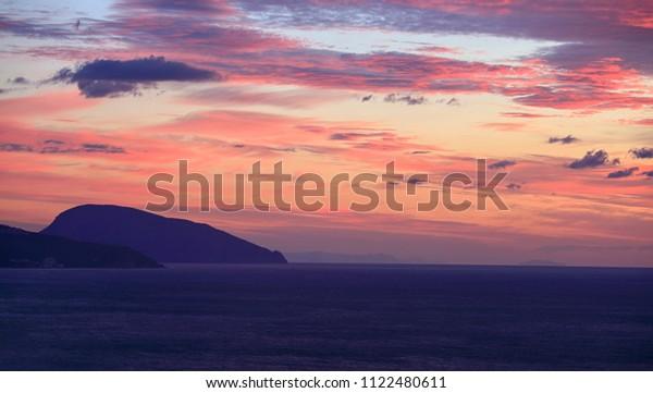 Bear mountain and the Black Sea before dawn in the Crimea