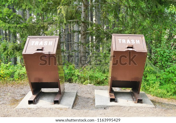 Bear Proof Garbage Cans Woodland Stock Photo (Edit Now) 1163995429