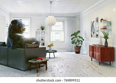 The bear relaxing in the room on the sofa. Creative illustration. Photo and CG elements combination. Noise and texture added