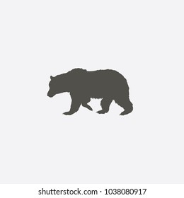 bear sihouette symbol. Solid pictogram. Black bear elements isolated on white background. Good for camping logo. infographics. .