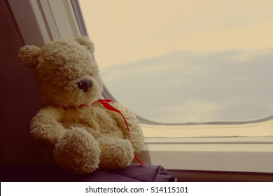 Bear is sitting by the window on the aircraft